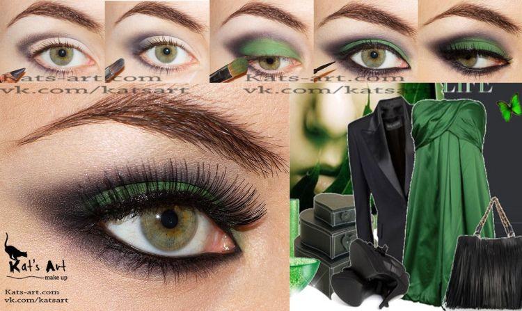 Макияж к голубому платью и зелёным глазам
