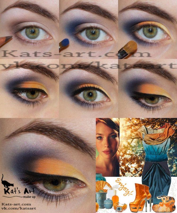 Макияж для осени с зелеными глазами
